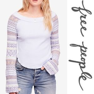 Free People Fairground Thermal Top, light blue, S.